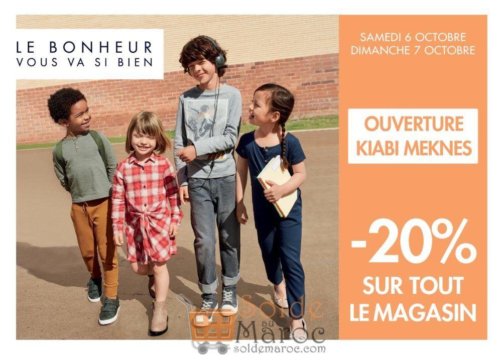 Promo Ouverture Kiabi Meknes -20% sur tout le magasin ce Weekend seulement