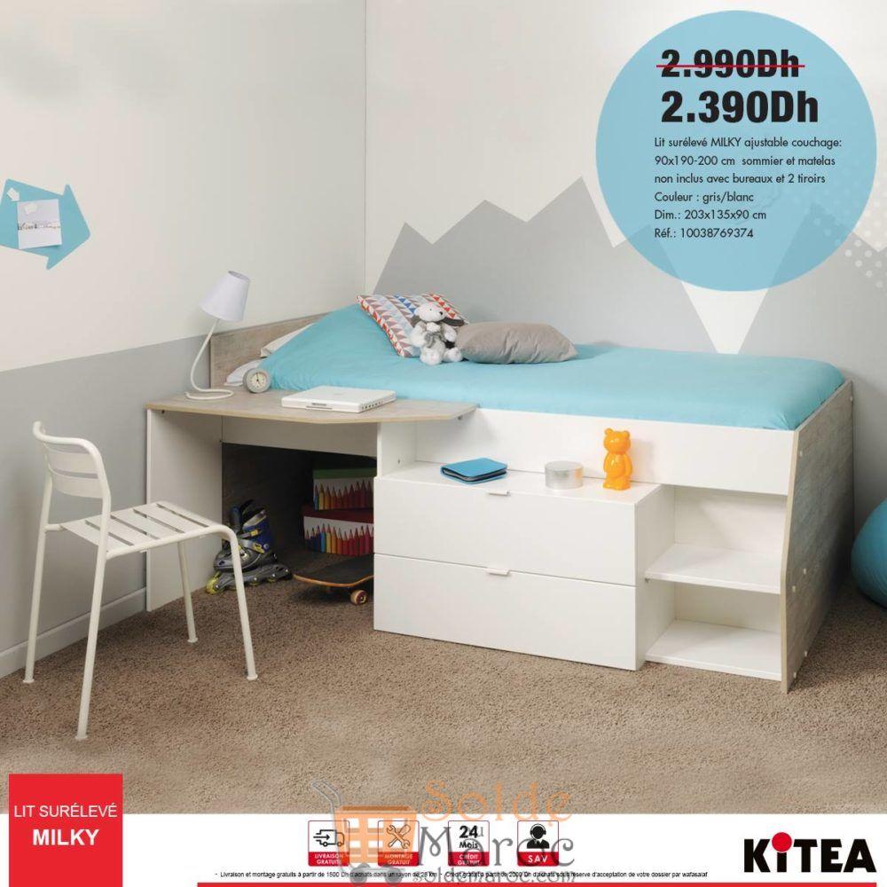 Soldes Kitea Lit surélevé MILKY ajustable avec bureau et 2 tiroir 2390Dhs au lieu de 2990Dhs