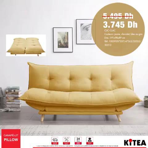 Promo Kitea Canapé-lit PILLOW 3745Dhs au lieu de 5495Dhs