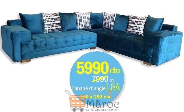 Promo Azura Home CANAPÉ D'ANGLE LEA 280x250CM 5990Dhs au lieu de 7741Dhs