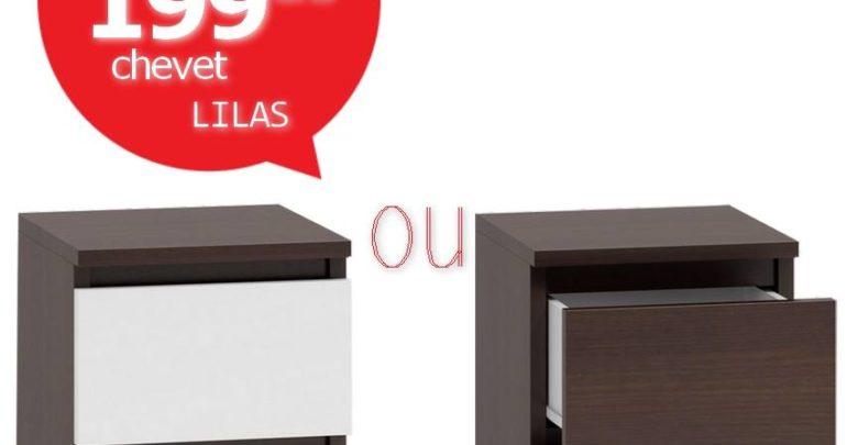 Soldes Azura Home 1 CHEVET LILAS BLANC ET WENGÉ 199Dhs au lieu de 1180Dhs