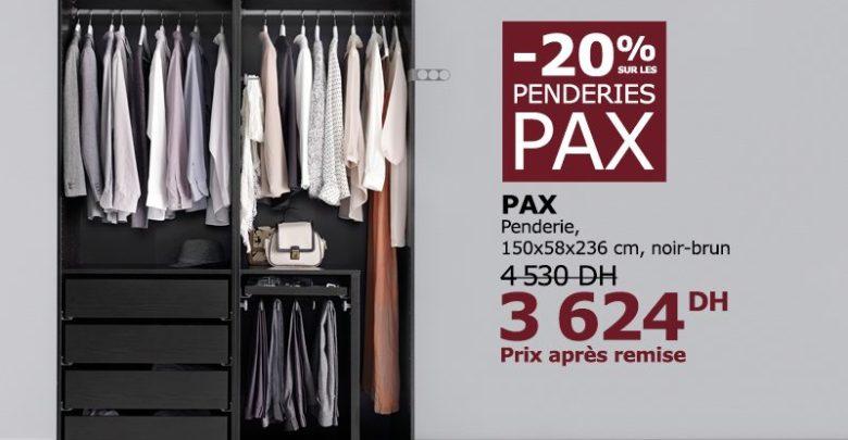 Soldes Ikea Maroc Penderie PAX Hasvik Blanc 3624Dhs au lieu de 4530Dhs