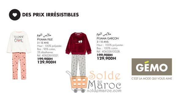 Promo Gémo Maroc Pyjama Fille et Garçon 129Dhs au lieu de 199Dhs
