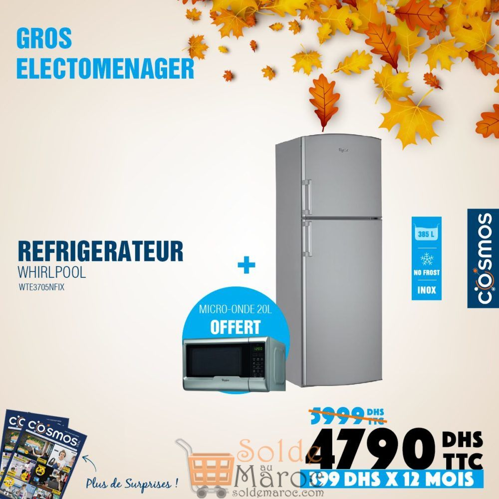 Promo Cosmos Electro Réfrigérateur Whirlpool 385L 4790Dhs au lieu de 5999Dhs
