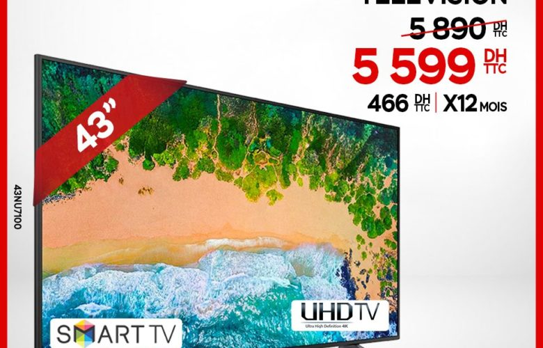 TAILLE D'ÉCRAN : 43 TYPE D'ECRAN : FLAT SMART TV : OUI NORME HD : UHD (4K)