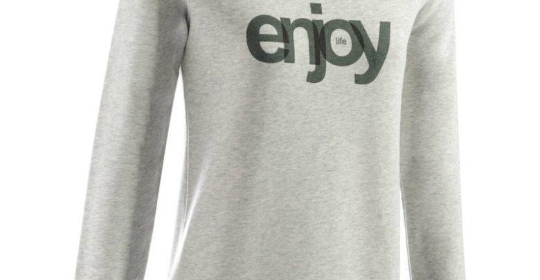 Photo of Soldes Decathlon Sweat-shirt 100 Gym & Pilates Femme Gris chiné clair printé 99Dhs