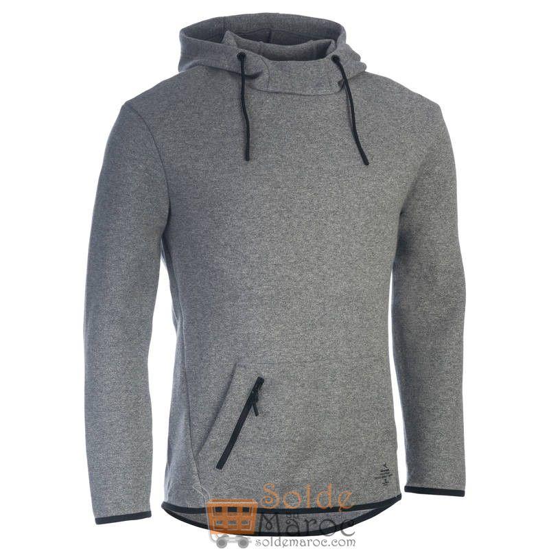Soldes Decathlon Sweat-shirt 560 Gym & Pilates homme capuche gris 199Dhs au lieu de 229Dhs