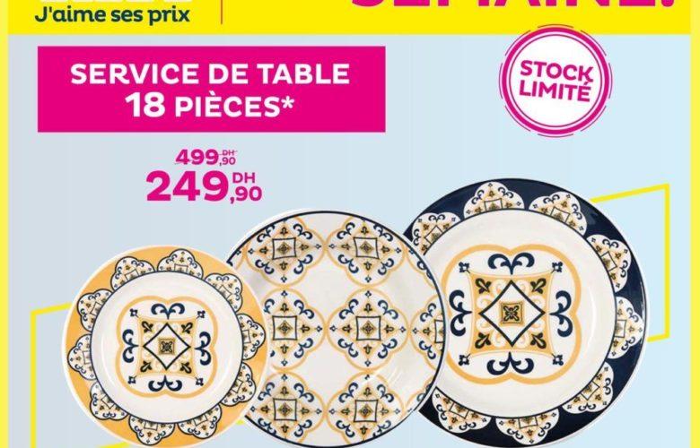 Promo Tati Maroc Service de table 18 pièces 249Dhs au lieu de 499Dhs