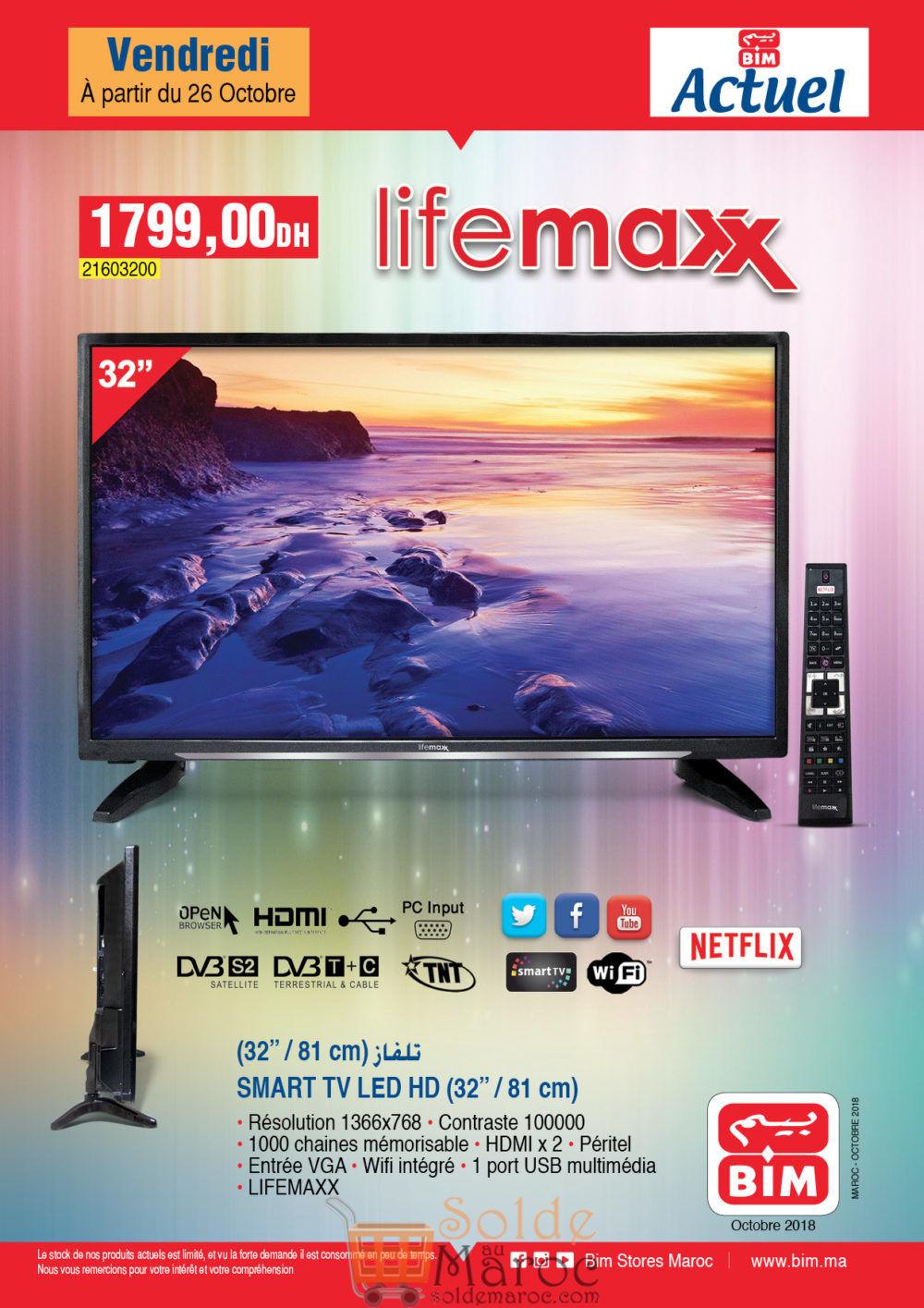 Flyer Bim Maroc Smart TV 32° LED LifeMAXX 1799Dhs
