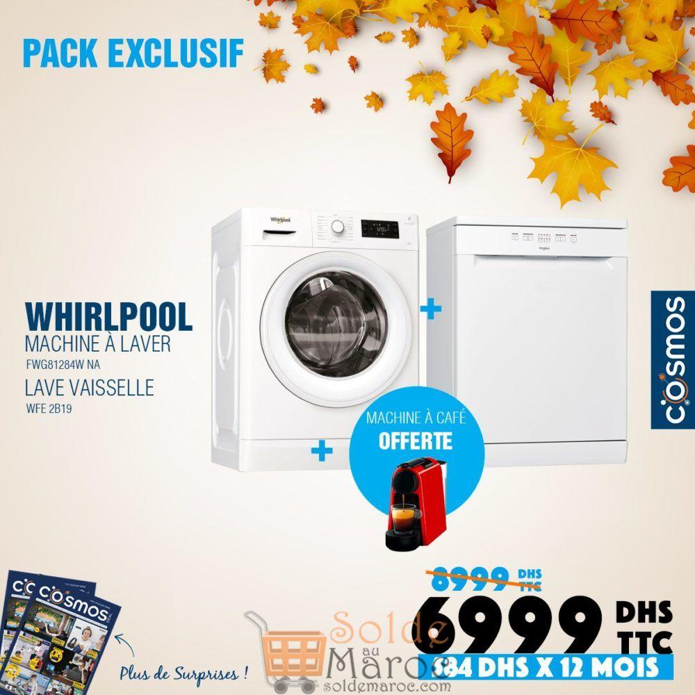 Promo Cosmos Electro Lave-linge + lave vaisselle Whirlpool 6999Dhs au lieu de 8999Dhs
