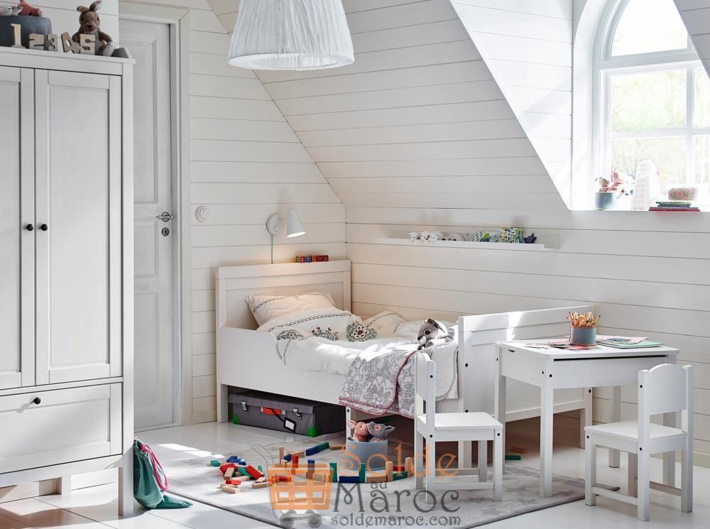 Soldes Ikea Family Maroc Struct lit ext SUNDVIK avec sommier à lattes blanc 1929Dhs