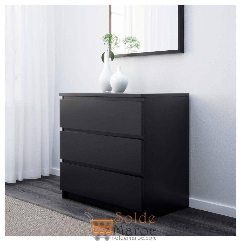 Soldes Ikea Maroc Commode MALM 3 tiroirs noir-brun 649Dhs au lieu de 1195Dhs