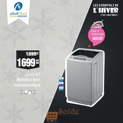 Soldes Aswak Assalam Lave-linge 6Kg ELITE 1699Dhs au lieu de 1899Dhs