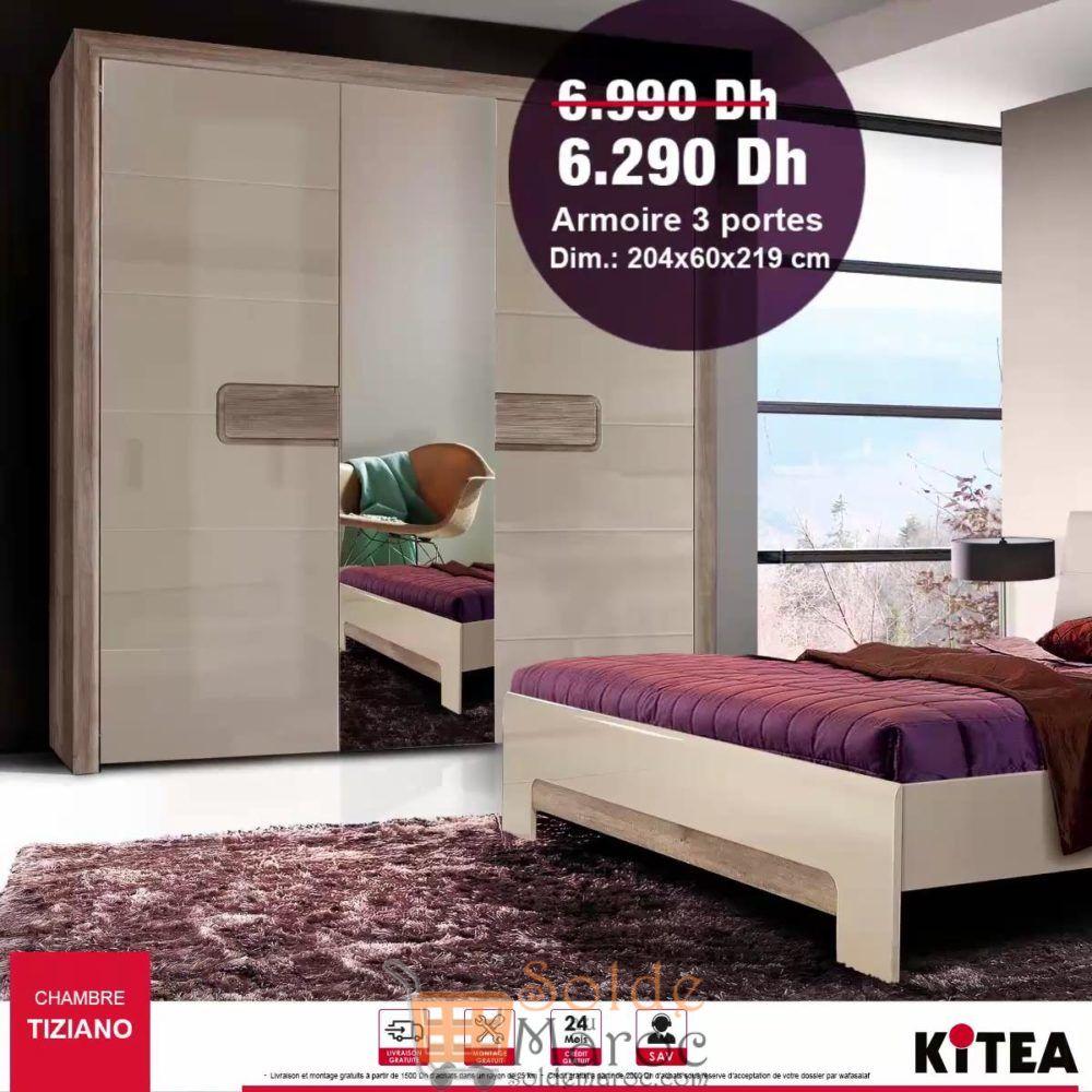 Soldes Kitea Armoire 3 Portes TIZIANO 6290Dhs au lieu de 6990Dhs