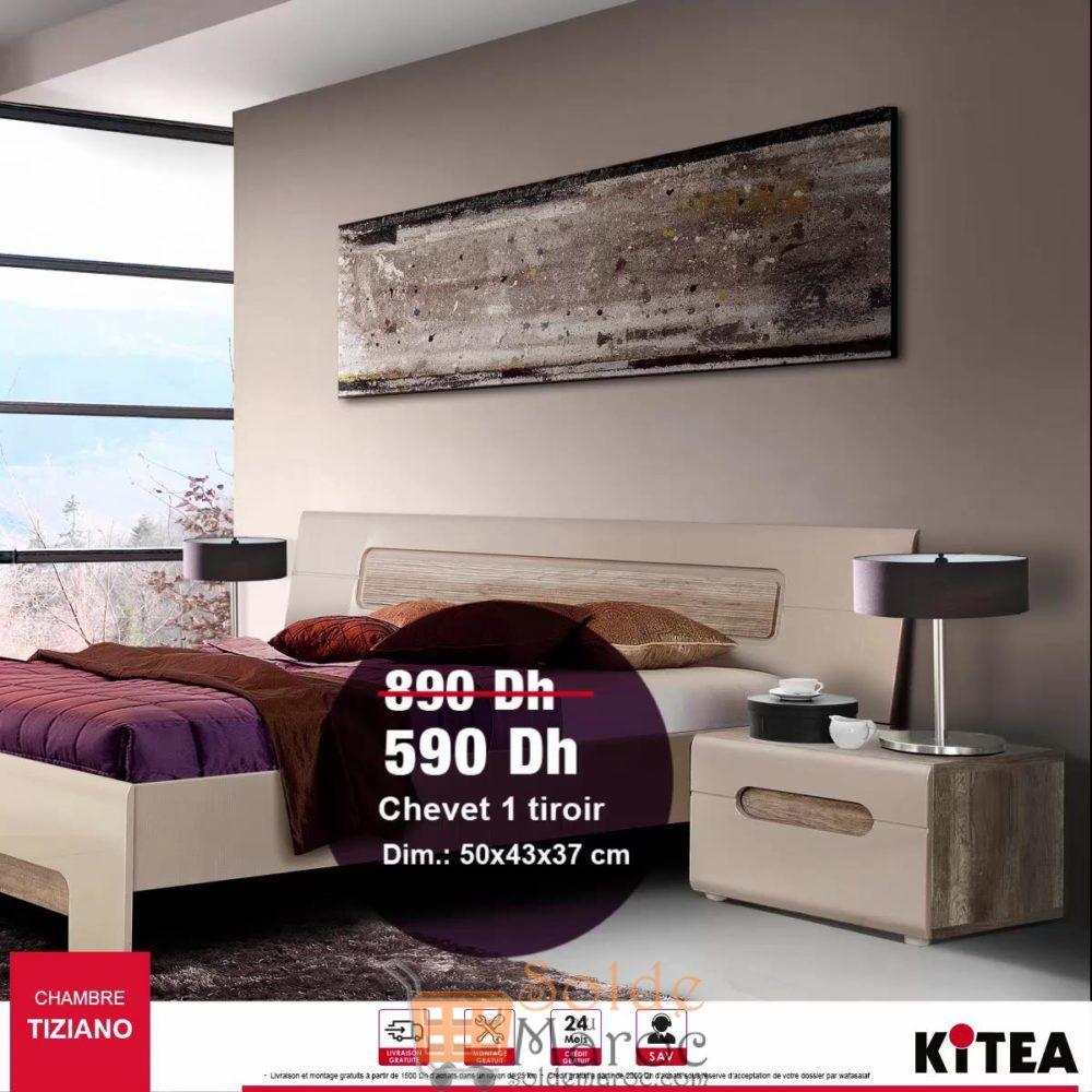 Soldes Kitea Chevet 1 tiroir TIZIANO 590Dhs au lieu de 890Dhs