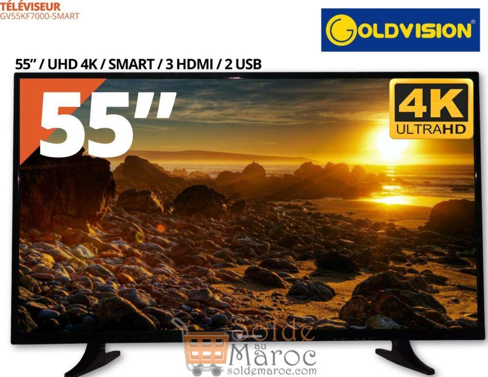 """Promo Abroune Smart TV UHD LED 55"""" Goldvision + Recepteur 3 Mois IPTV 5699Dhs au lieu de 5999Dhs"""