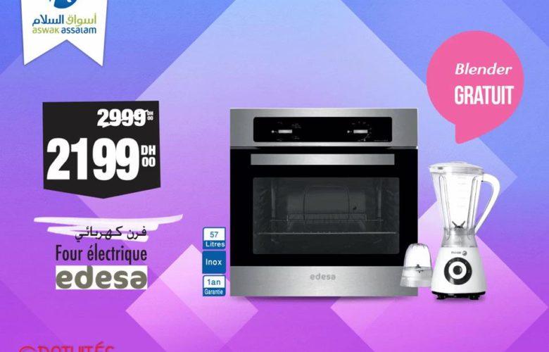 Promo Aswak Assalam Four électrique EDESA 57L + Blender 2199Dhs au lieu de 2999Dhs