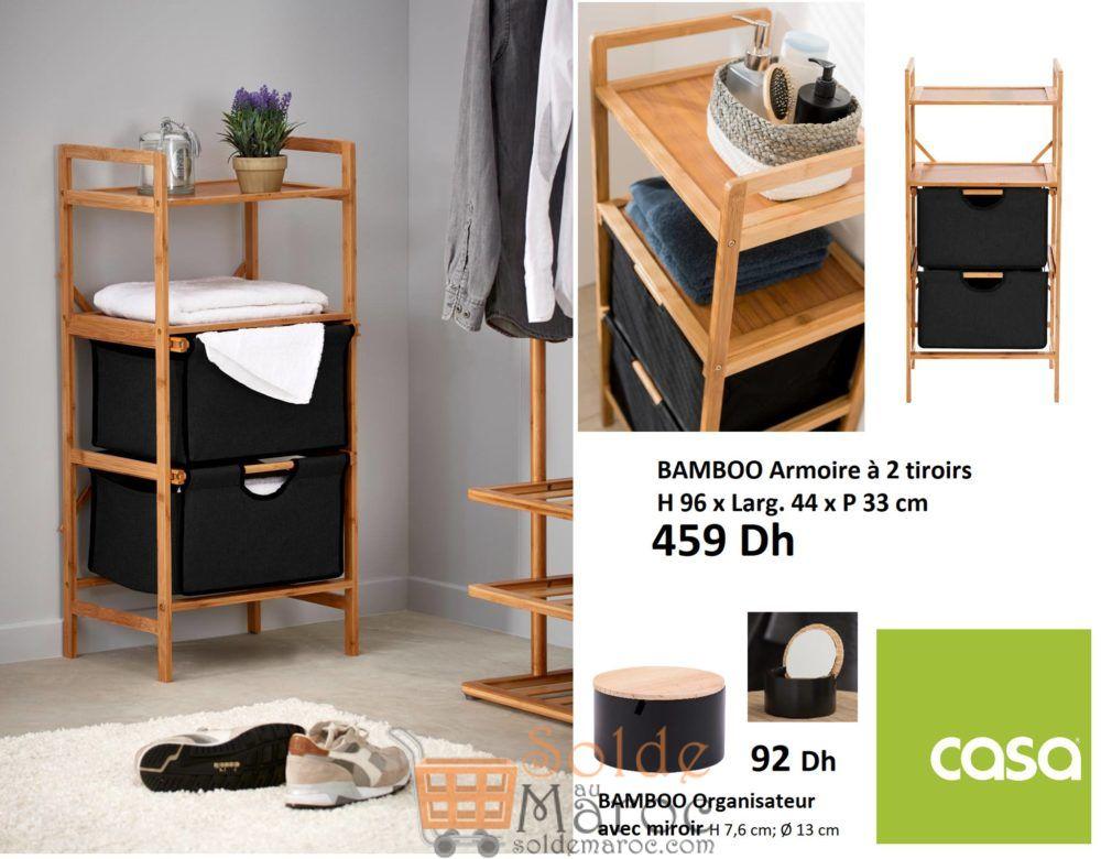 Nouveau chez casa Maroc Armoire à 2 tiroirs BAMBOO 459Dhs