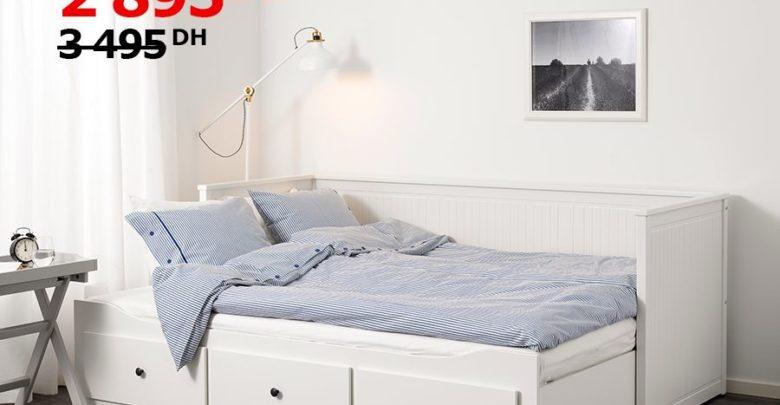 Photo of Soldes Ikea Maroc Cadre lit d'appoint avec 3 tiroirs HEMNES blanc 2895Dhs au lieu de 3495Dhs