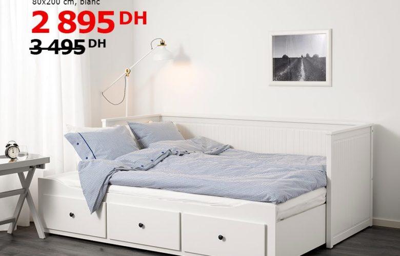 Soldes Ikea Maroc Cadre lit d'appoint avec 3 tiroirs HEMNES blanc 2895Dhs au lieu de 3495Dhs