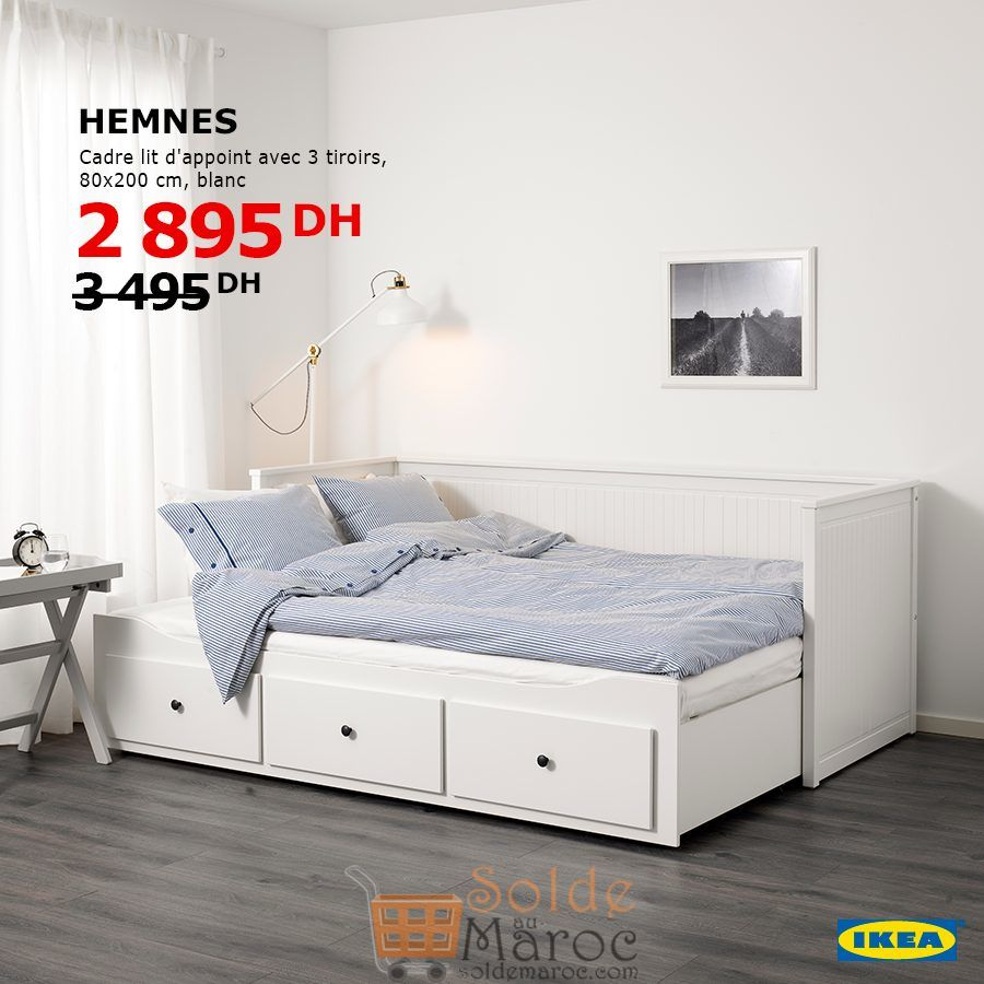 Ikea Cadre De Lit.Soldes Ikea Maroc Cadre Lit D Appoint Avec 3 Tiroirs Hemnes