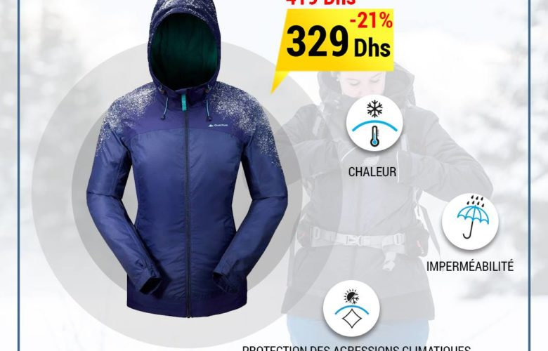 Promo Decathlon Maroc Veste de randonnée Quechua neige femme 329Dhs au lieu de 419Dhs