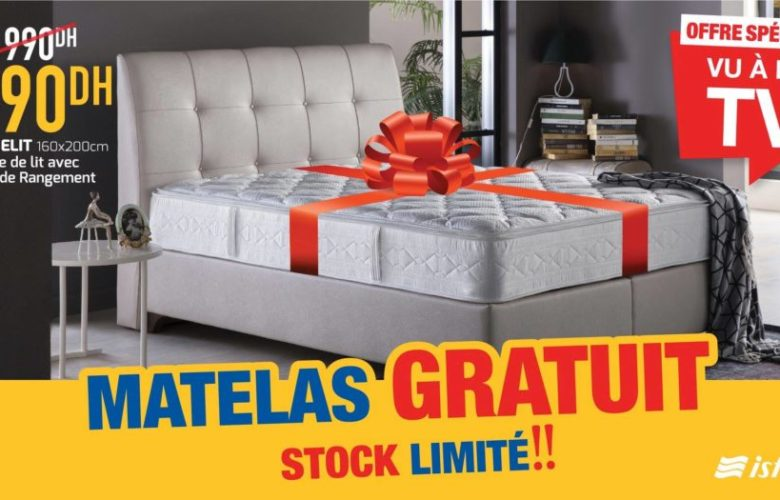 Soldes Istikbal Maroc Tête de lit + Sommier ELIT + Espace de rangement 6990Dhs au lieu de 10990Dhs
