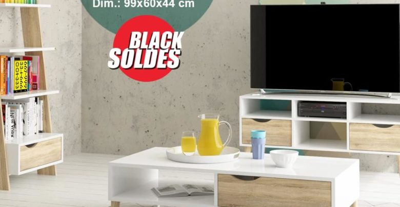 Photo of Black Soldes Kitea Table Basse 1 tiroir 1 niche OSLO 995Dhs au lieu de 1395Dhs