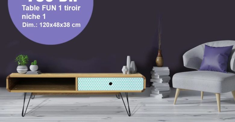 Soldes Kitea Table FUN 1 tiroirs 790Dhs au lieu de 1450Dhs