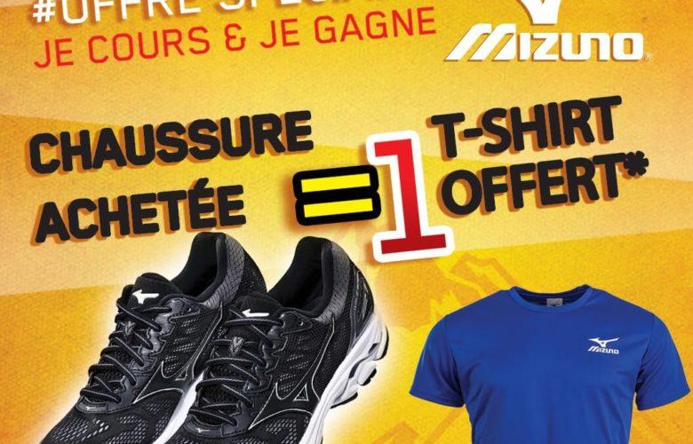 Offre Spéciale Planet Sport une chaussure Mizuno acheté 1 t-shirt offert
