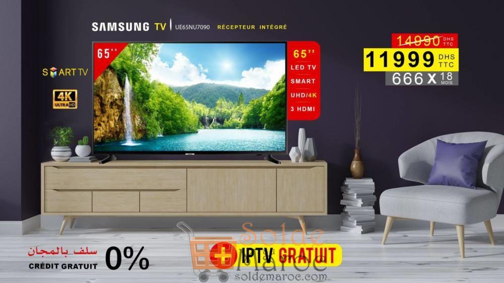 Soldes Electro Bousfiha TV SAMSUNG LED 65P SMART UHD 11999Dhs au lieu de 14990Dhs