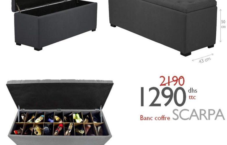 Soldes Azura Home Banc coffre à chaussure SCARPA 1290Dhs au lieu de 2190Dhs