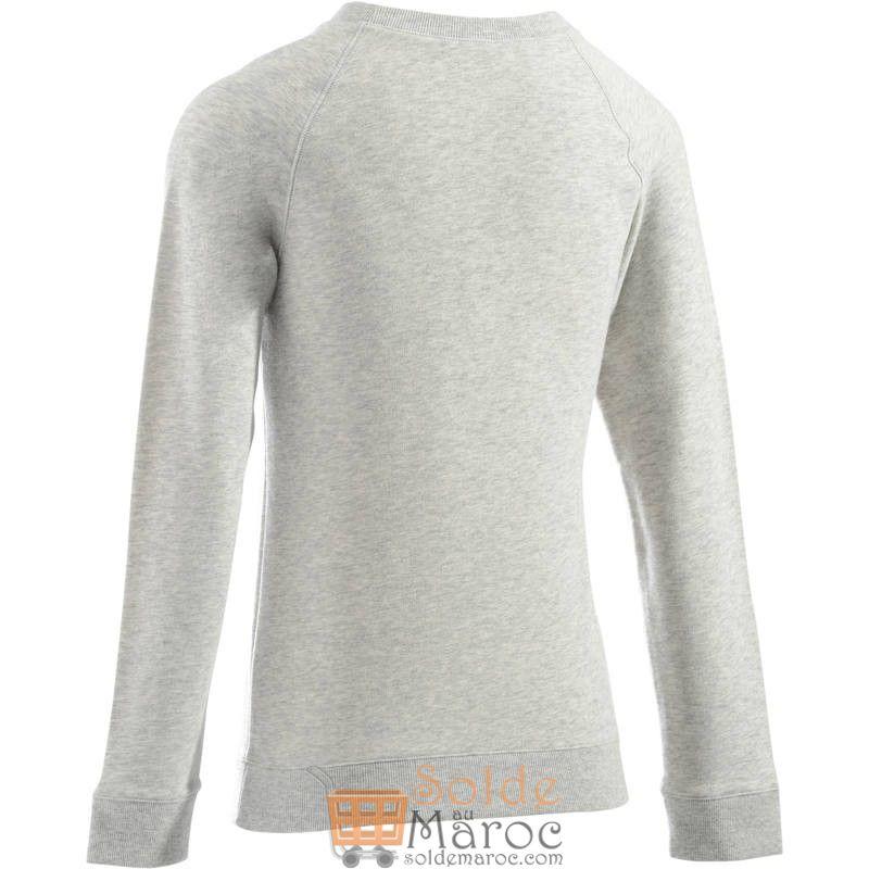 Soldes Decathlon Sweat-shirt 100 Gym & Pilates Femme Gris chiné clair printé 99Dhs au lieu de 129Dhs