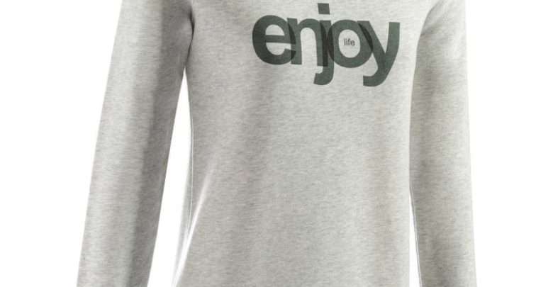 Photo of Soldes Decathlon Sweat-shirt 100 Gym & Pilates Femme Gris chiné clair printé 99Dhs