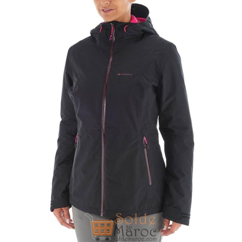Soldes Decathlon Veste trekking Rainwarm QUECHUA 3en1 femme noir 839Dhs au lieu de 1039Dhs