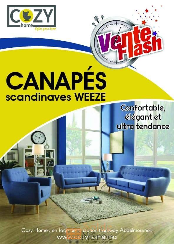 Promo Cozy Home Canapé Scandinave WEEZE 7499Dhs au lieu de 12500Dhs