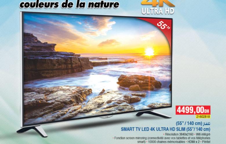 Flyer Bim Maroc Smart TV 55° 4k Lifemaxx 4499Dhs à partir du 4 Janvier 2018