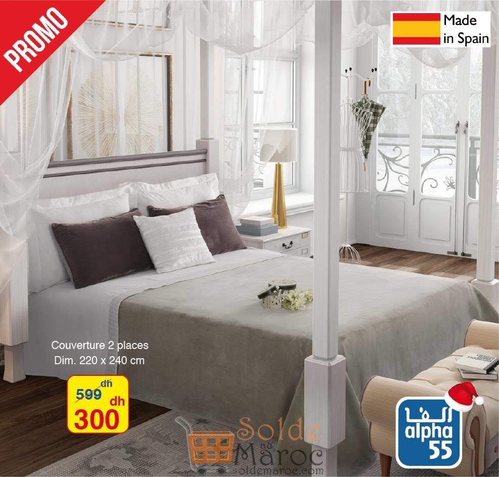 Promo Alpha55 Couverture 2 Places made in Spain 300Dhs au lieu de 599Dhs