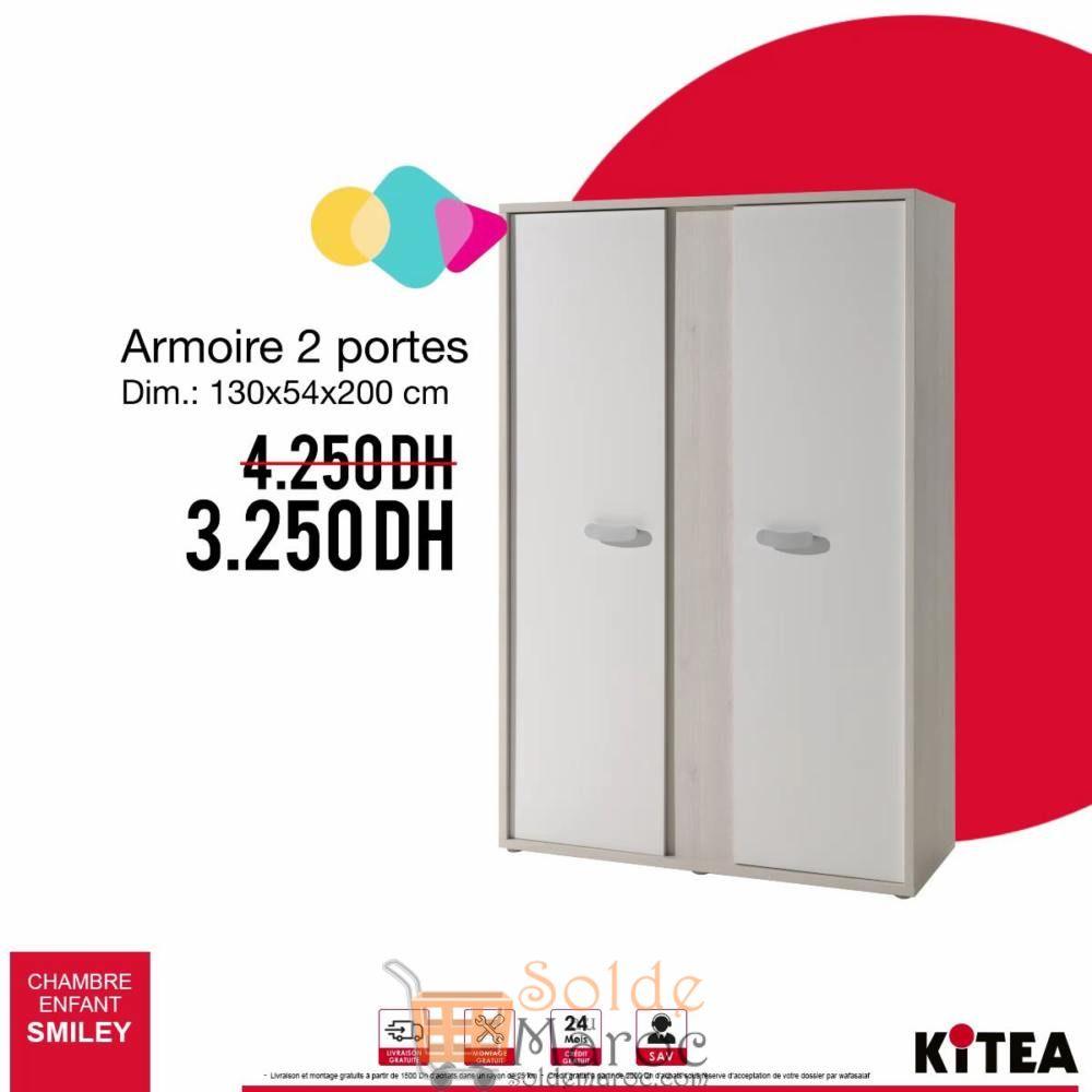 Promo Kitea Armoire 2 Portes SMILEY 3250Dhs au lieu de 4250Dhs