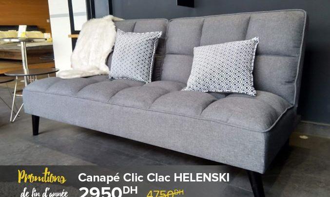 Promo Cozy Home Canapé Clic Clac HELENSKI 2950Dhs au lieu de 4750Dhs