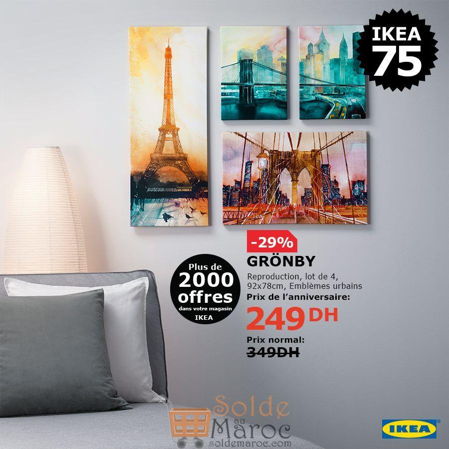 Soldes Ikea Maroc Lot de 4 Tableau GRONBY 249Dhs au lieu de 349Dhs