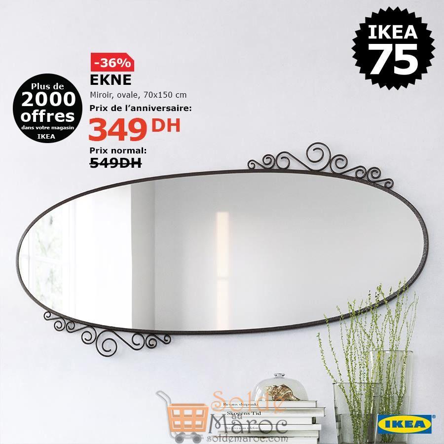 Soldes Ikea Maroc Miroir oval EKNE 349Dhs au lieu de 549Dhs