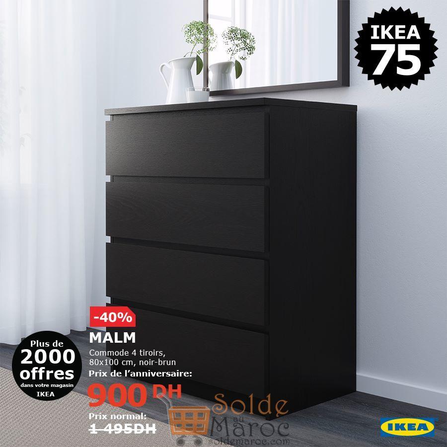 Soldes Ikea Maroc Commode 4 tiroirs MALM 900Dhs au lieu de 1495Dhs