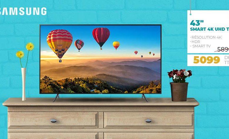 """Soldes Biougnach Electro SMART TV UHD 43"""" SAMSUNG 5099Dhs au lieu de 5890Dhs"""