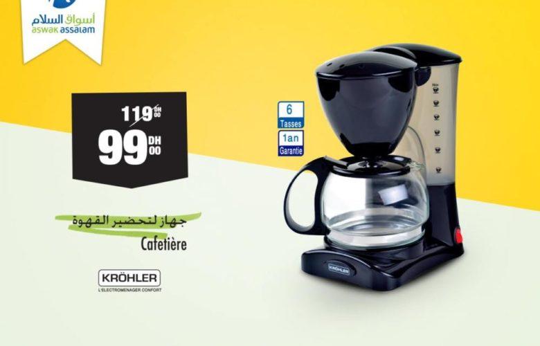 Soldes Aswak Assalam Cafetière KROHLER 99Dhs au lieu de 119Dhs