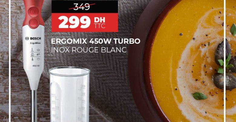 Photo of Soldes Biougnach Electro Ergomix 450w turbo inox rouge blanc 299Dhs au lieu de 349Dhs