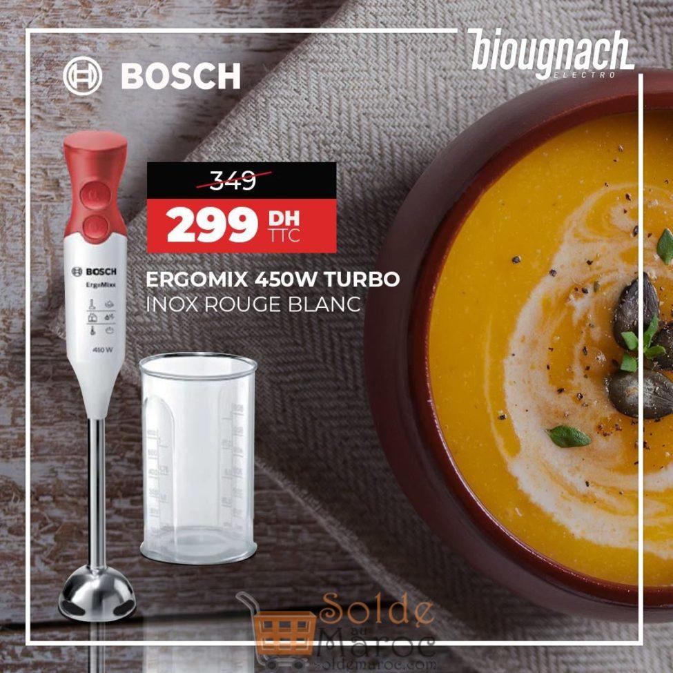Soldes Biougnach Electro Ergomix 450w turbo inox rouge blanc bosch 299Dhs au lieu de 349Dhs