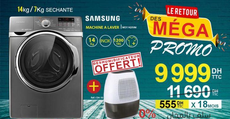 Promo Electro Bousfiha Lave-linge 14Kg/7Kg Sechante 9999Dhs au lieu de 11690Dhs