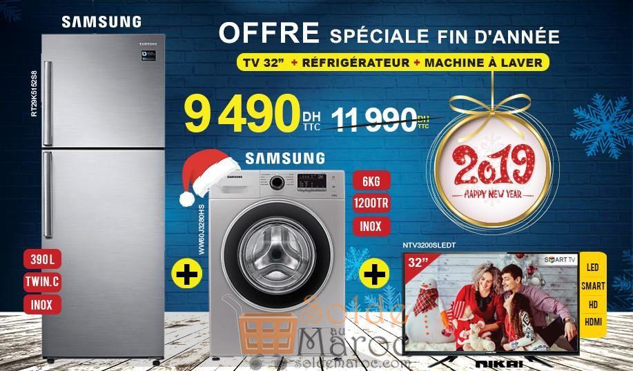 Promo Electro Bousfiha Pack Réfrigérateur + Lave-linge + Smart TV 9490Dhs au lieu de 11990Dhs