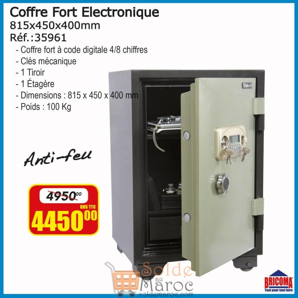 Promo Bricoma Coffre Fort Electronique anti-feu 4450Dhs au lieu de 4950Dhs